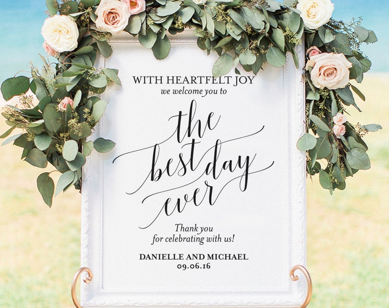 Welcome Wedding Sign Welcome Wedding Printable Best Day Ever image 0