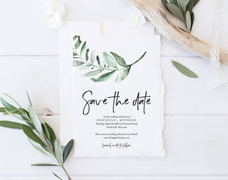 Save the Date Template Greenery Wedding Invitation Wedding image 0