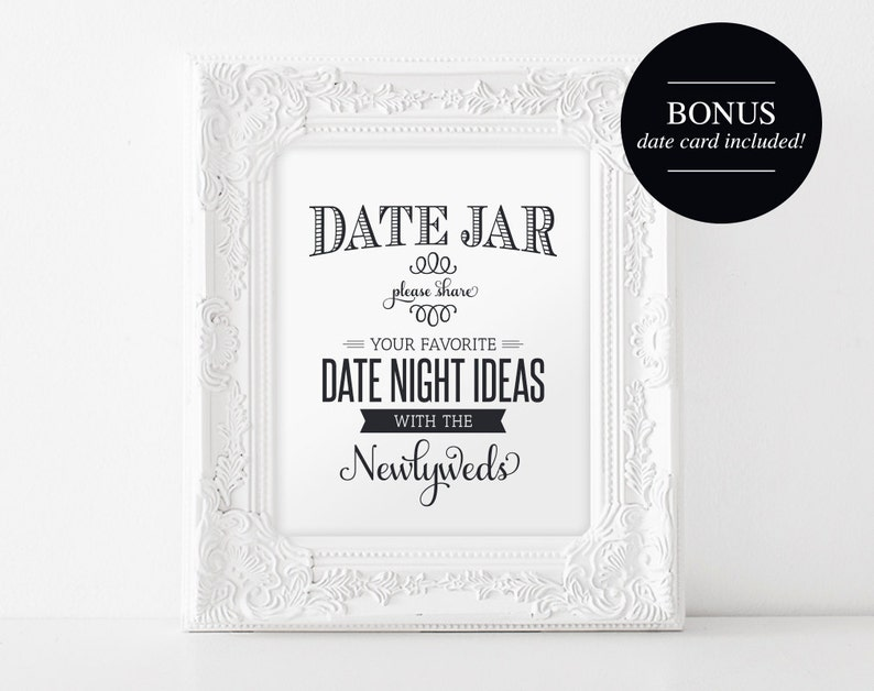 Date Night Jar Sign and Card Wedding Printable Date Night image 0
