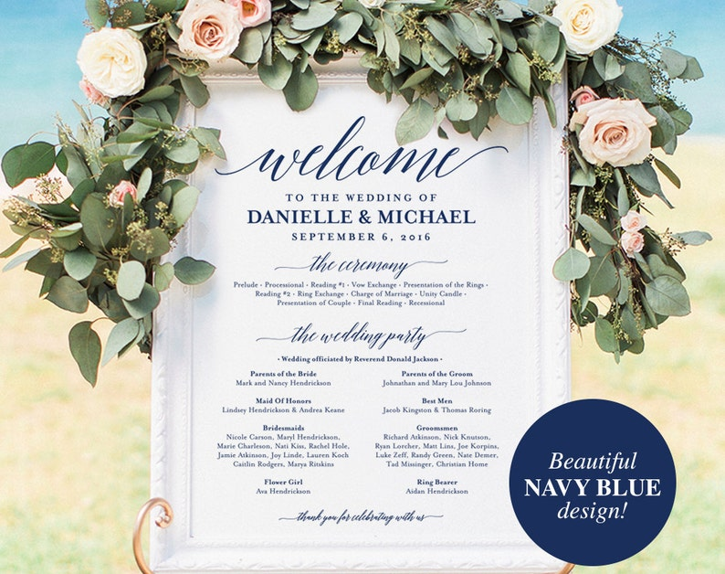 Wedding program Sign Welcome Wedding Sign Program Sign Navy image 0