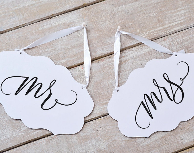 Mr and Mrs Sign Mr and Mrs Chair Signs Wedding Chair Signs image 0