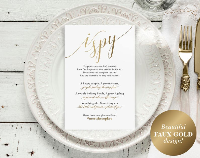 Faux Gold I Spy Wedding Game I Spy Wedding Wedding Games image 0