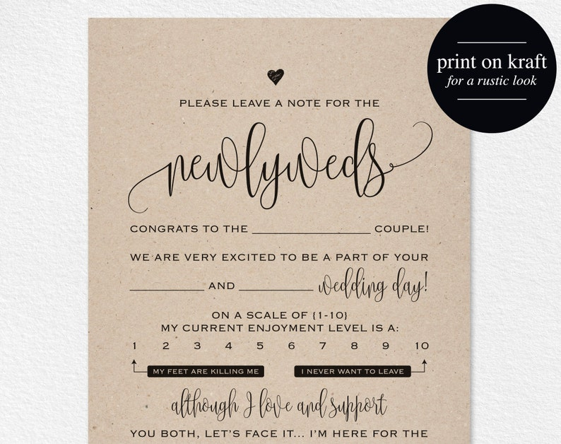 Wedding Mad Libs Mad Lib Printable Wedding Advice Mad Lib image 0