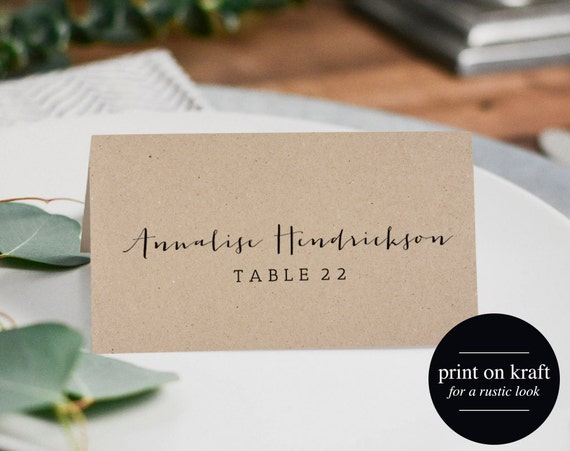 Rustic Wedding Place Cards Printable Template Flat Place Etsy