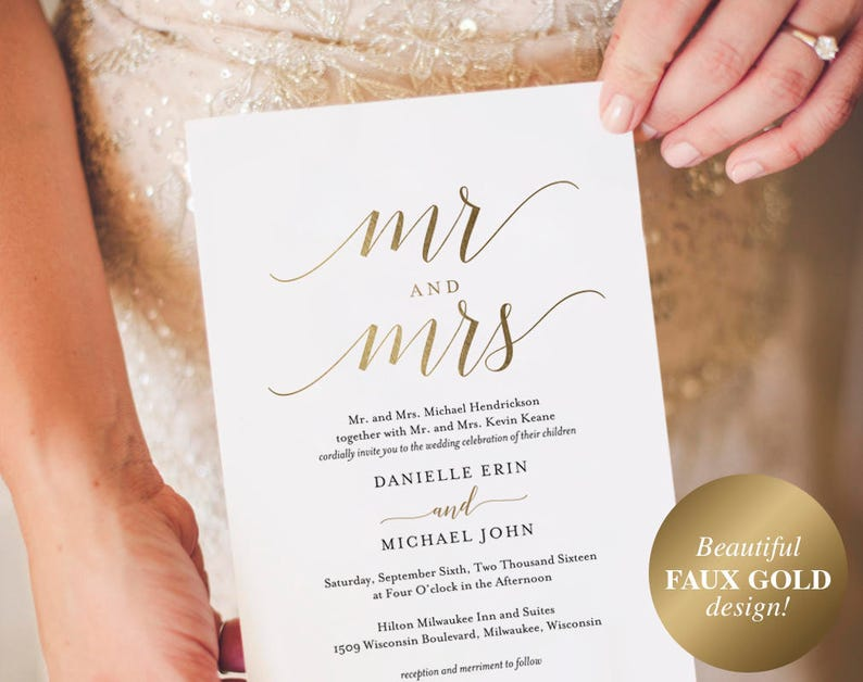 Gold Wedding Invitation Wedding Invitation Template Wedding image 0