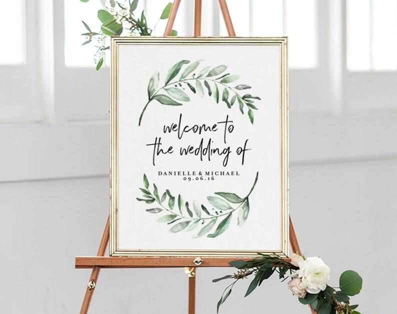 Greenery Wedding Sign Welcome Sign Welcome Wedding Sign image 0
