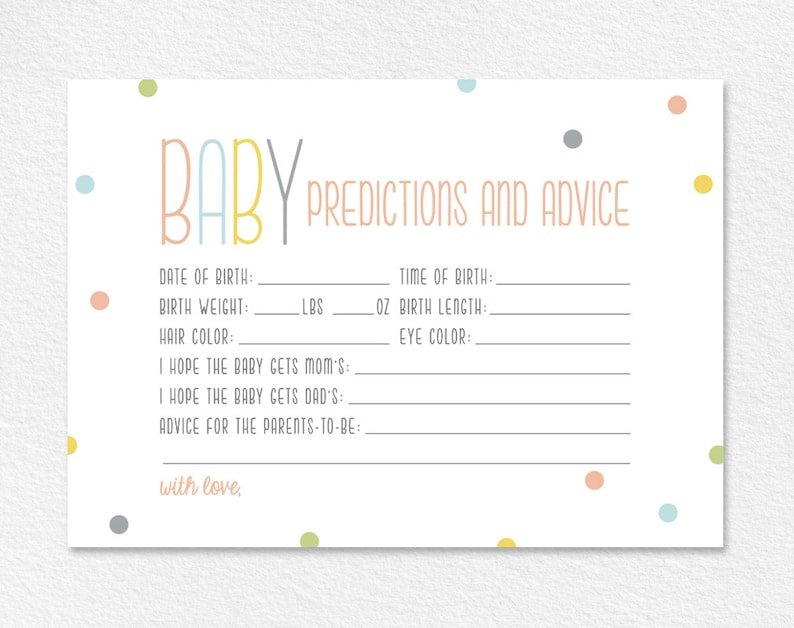 Predictions for Baby Baby Predictions Baby Shower Game Baby image 0