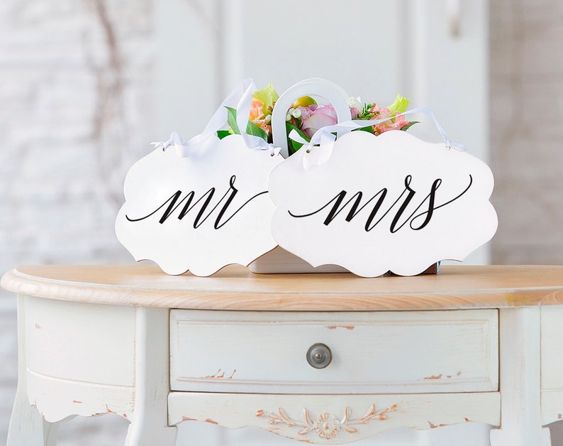 Mr and Mrs Chair Signs Mr and Mrs Wedding Signs Wedding image 0