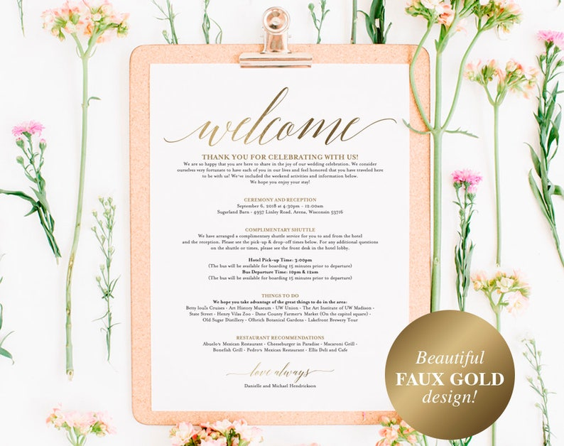 Faux Gold Wedding Itinerary Template Wedding Welcome Letter image 0