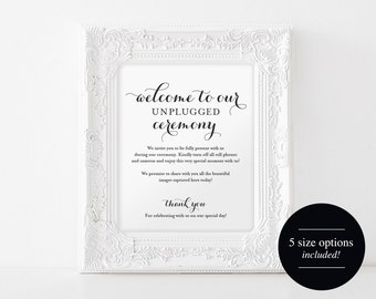 Unplugged Wedding Sign, Unplugged Ceremony Sign, Wedding Sign, Wedding Printable, Unplugged Sign, PDF Instant Download #BPB133_35