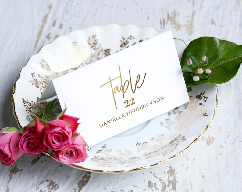 Gold Wedding Place Cards Wedding Place Card Printable Place image 0