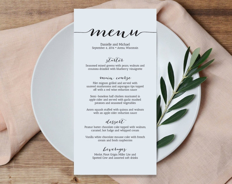 Wedding Menu Printable Template Printable Menu Menu image 0