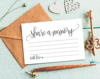 Share a Memory Card, Memory Cards, Share a Memory Printable, Memorial Card, Keepsake, Funeral Memory Card, PDF Instant Download #BPB203_37
