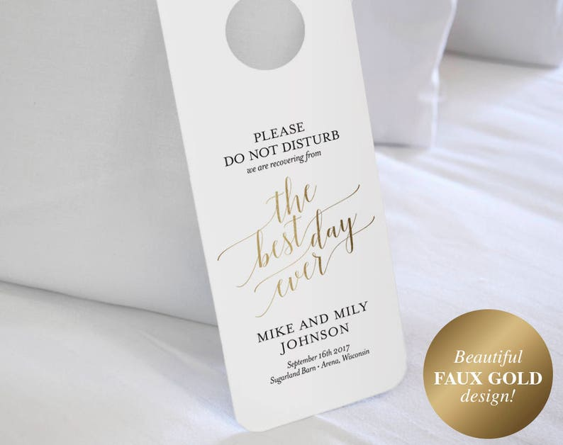 Faux Gold Wedding Door Hanger Do Not Disturb Door Hanger image 1