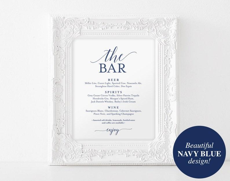 Bar Menu Sign The Bar Sign Wedding Bar Menu Printable image 0