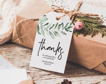 Greenery Thank You Tag, Wedding Thank You Tags, Gift Tags, Wedding Favor, Bliss Paper Boutique, PDF Instant Download #BPB330_32