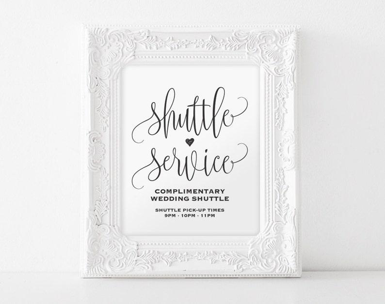 Shuttle Service Sign Shuttle Service Printable Wedding Sign image 0
