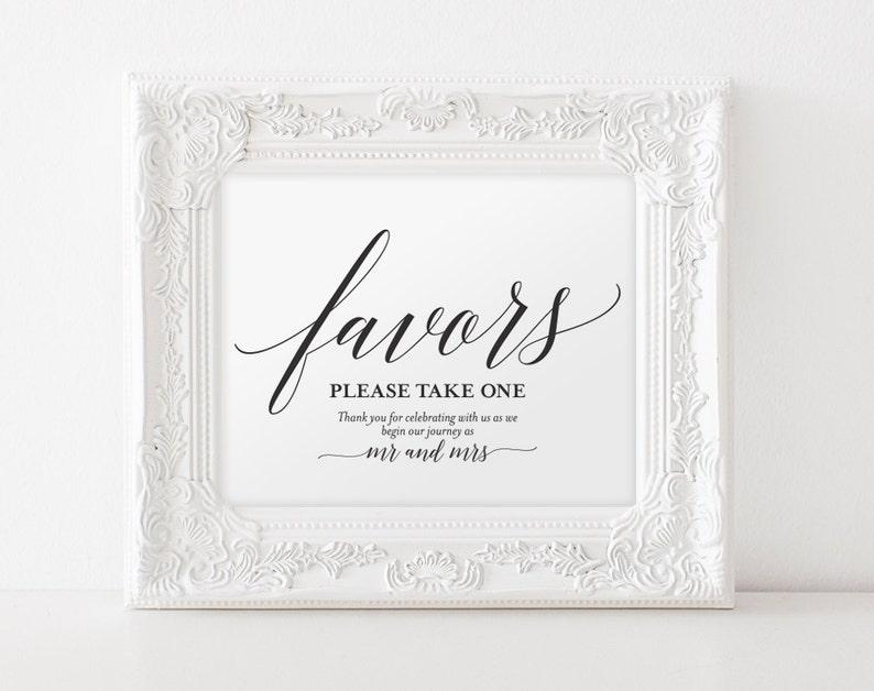 Wedding Favor Sign Favors Sign Wedding Favor Printable image 0