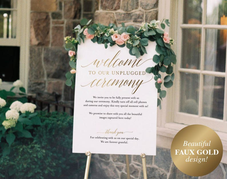 Faux Gold Unplugged Wedding Sign Unplugged Ceremony Sign image 0