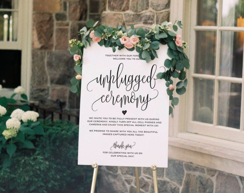 Unplugged Wedding Sign Unplugged Ceremony Sign Unplugged image 0