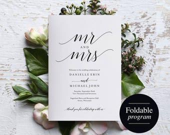 Folded Wedding Program Template, Folded Wedding Program Printable, Bliss Paper Boutique, Program Template, PDF Instant Download #BPB310_3_2
