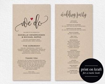 Wedding Program Editable Template, We Do Wedding Program Printable, Ceremony Printable, Wedding Printable, PDF Instant Download #BPB234_3
