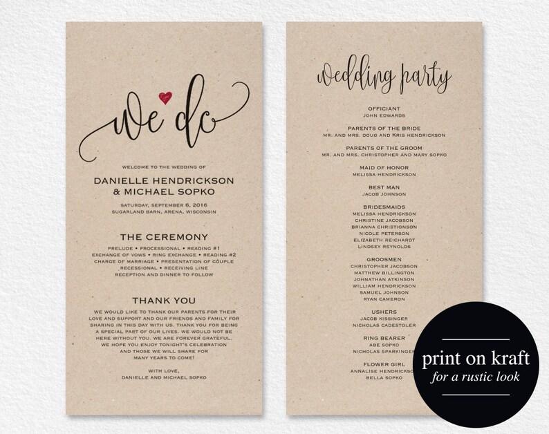 Wedding Program Editable Template We Do Wedding Program image 0
