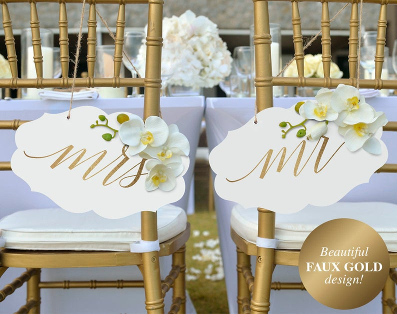 Wedding Chair Signs Mr and Mrs Wedding Signs Gold Wedding image 0
