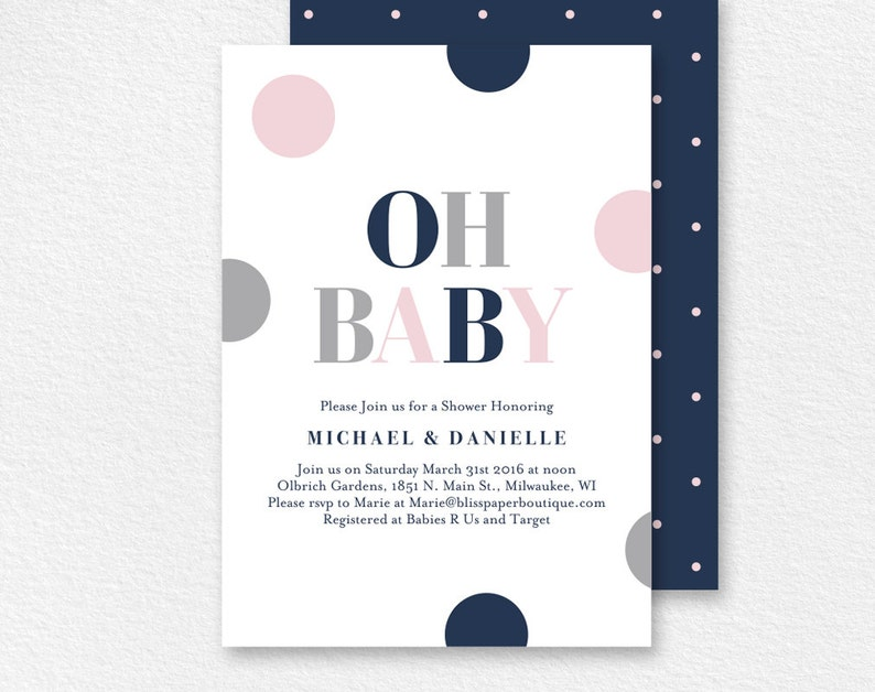 Baby Shower Invitation Oh Baby Baby Girl Shower Baby Shower image 0