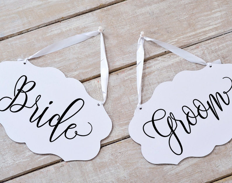 Bride Groom Chair Sign Bride Groom Signs Chair Signs image 0