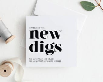 New Home Announcement, New Digs Moving Announcement, New Address, Printable, Template, New House, PDF Instant Download #BPB200_5