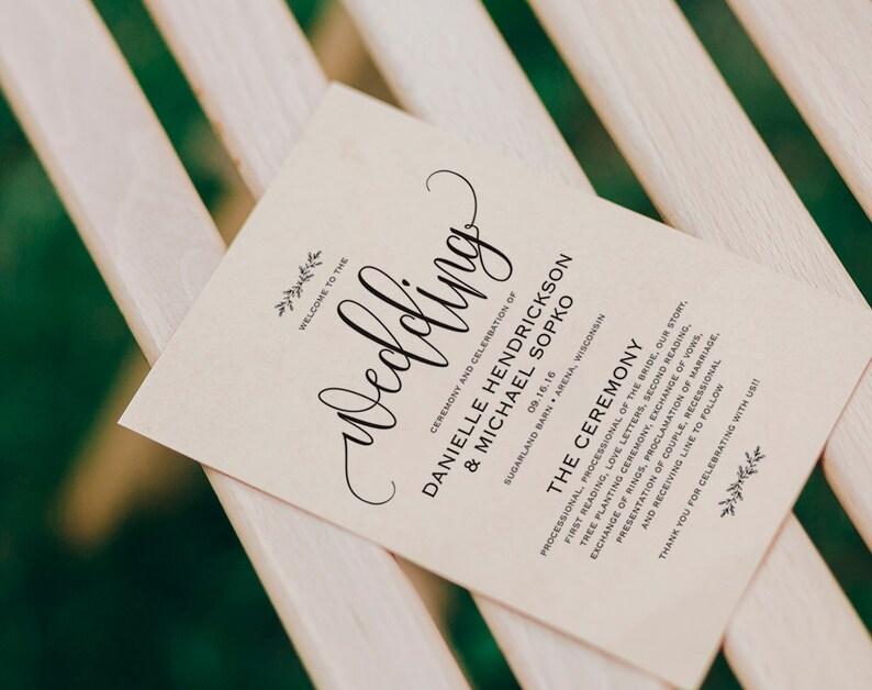 Wedding Program Printable Wedding Program Template Rustic image 0