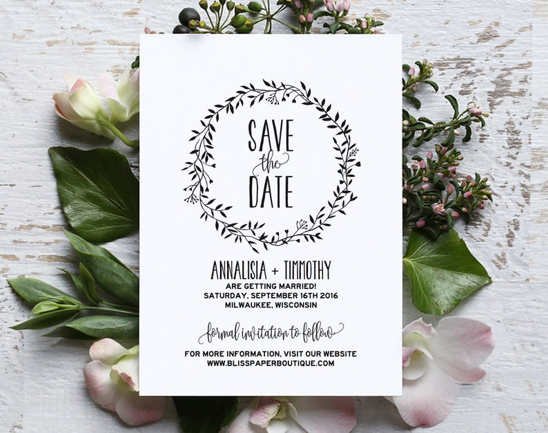 Save the Date Template Save the Date Printable Rustic Save image 0