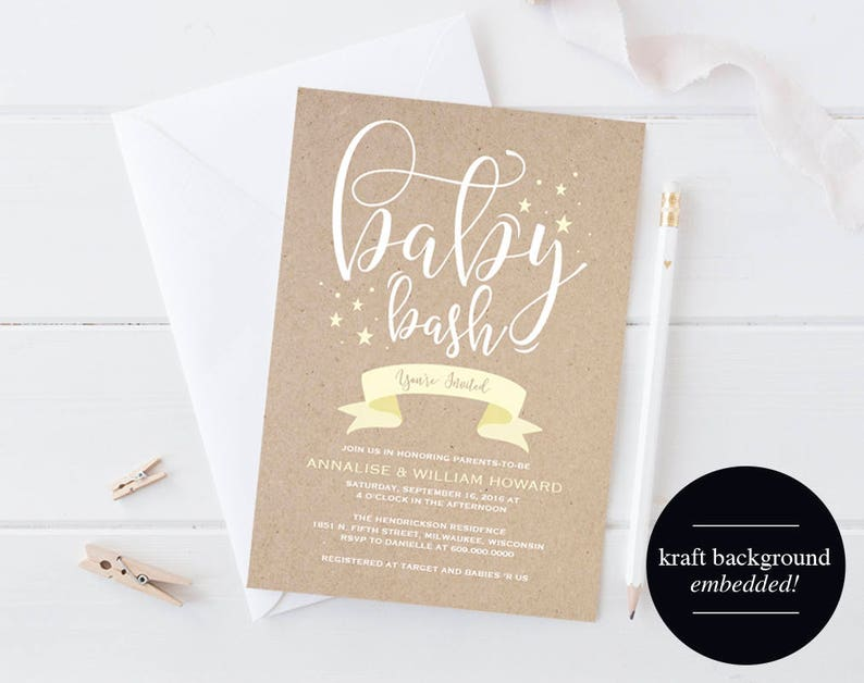 Baby Shower Invitation Invitation Gender Neutral Baby Bash image 0