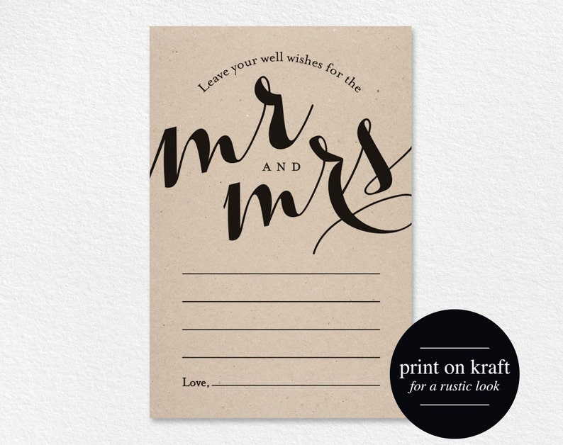 Wedding Well Wishes for Mr and Mrs Card Printable Template image 0