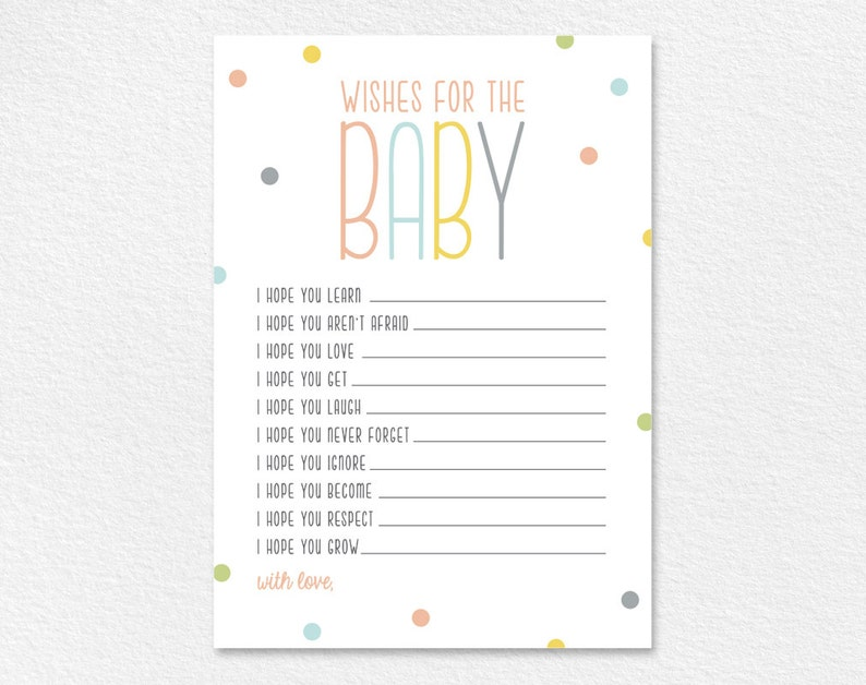 Wishes For Baby Well Wishes Printable Shower Wishes Gender image 0