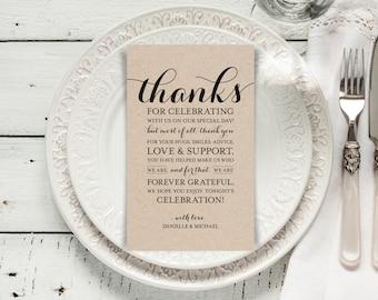 Wedding Thank You Printable Template, Printable Thank you, Thank You Card Template, Wedding Printable, PDF Instant Download #BPB133_14
