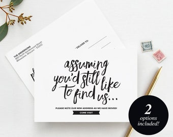 New Home Announcement Postcard, Moving Announcement Cards, New Address, Printable, Template, New House, PDF Instant Download #BPB200_2