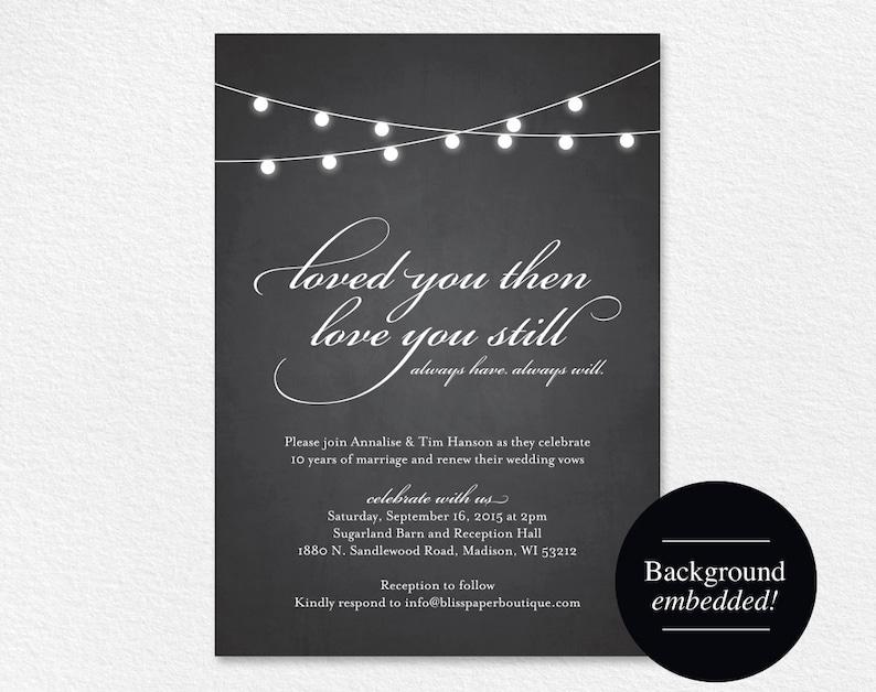 Vow Renewal Invitation Vow Renewal Printable Wedding Vow image 0