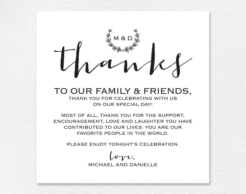 Wedding Favor Vintage Wedding Thank You Card Table Thank You Card Printable PDF Instant Download #BPB168/_14 Table Thank You Sign