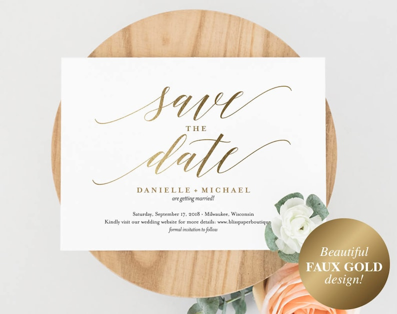 Faux Gold Save the Date Template Save the Date Cards Save image 0