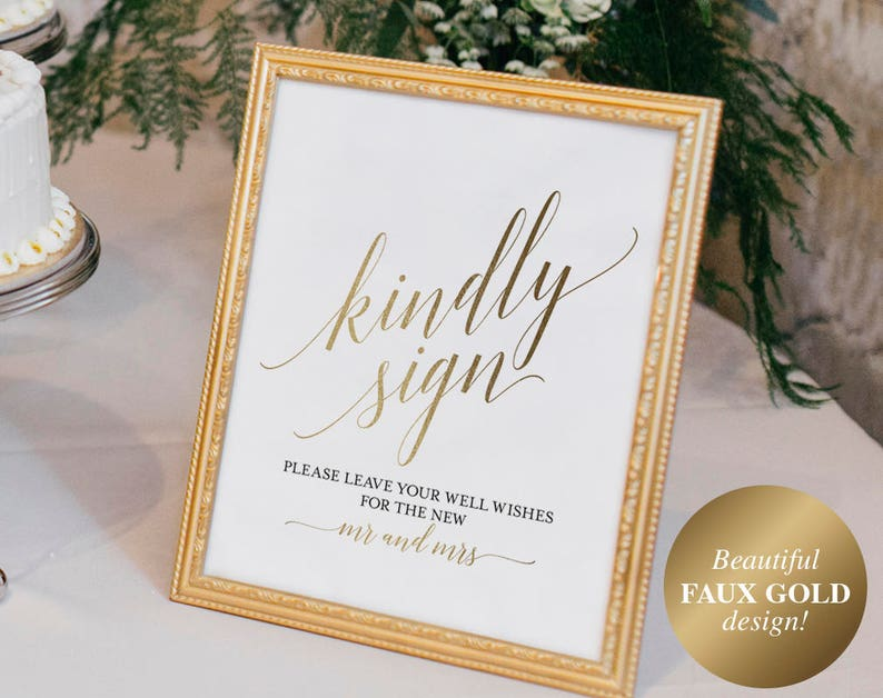 Faux Gold Guest Book Sign Guest Book Printable Guest Book image 0