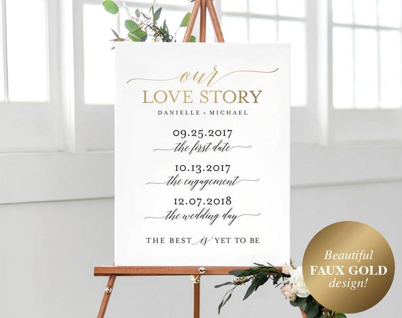 Love Story Sign Printable Love Story Timeline Wedding Love image 0