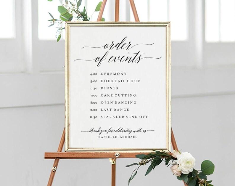 Order of Events Sign Wedding Timeline Sign Wedding Sign image 0