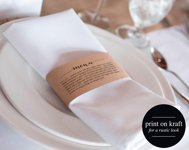 Printable Wedding Menu Napkin Menu Wrap Wedding Menu image 0