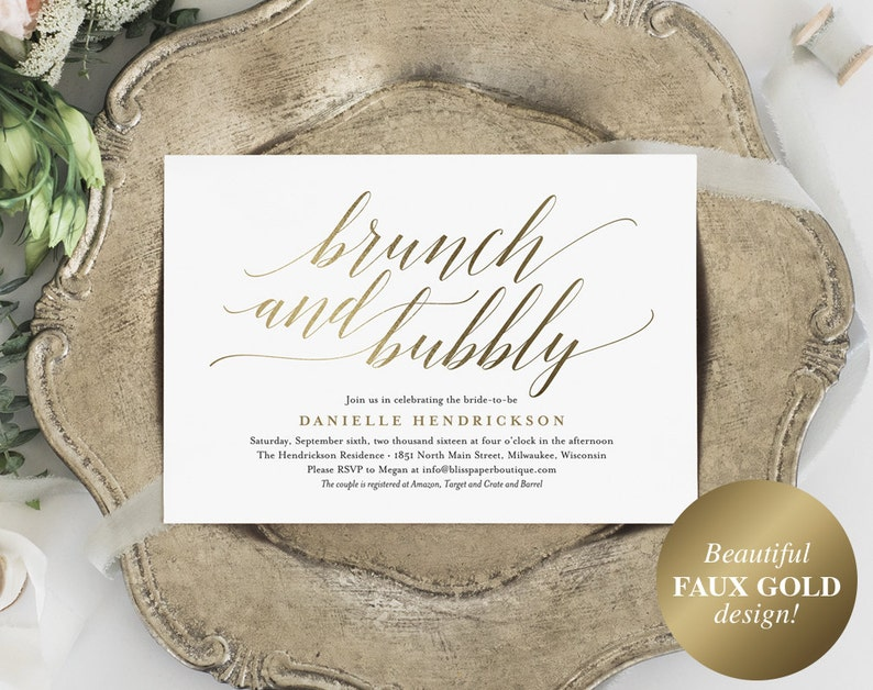 Brunch and Bubbly Invitation Bridal Shower Invitation image 0