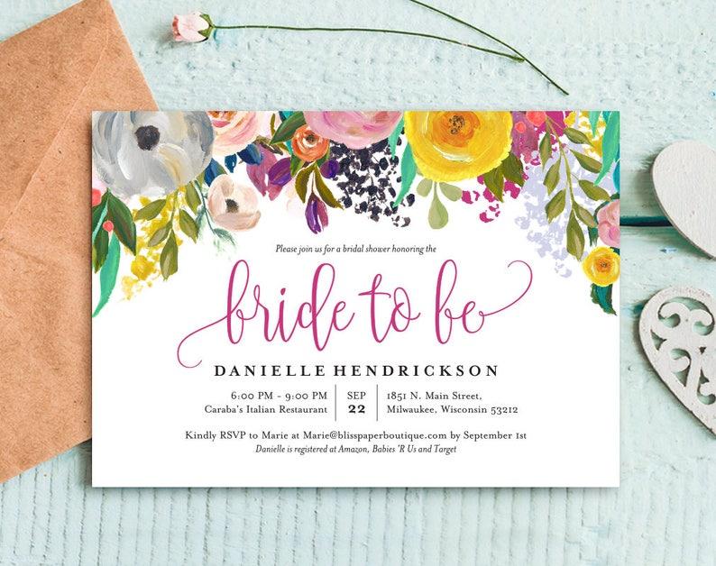 Bridal Shower Invitation Bridal Shower Template Floral image 0
