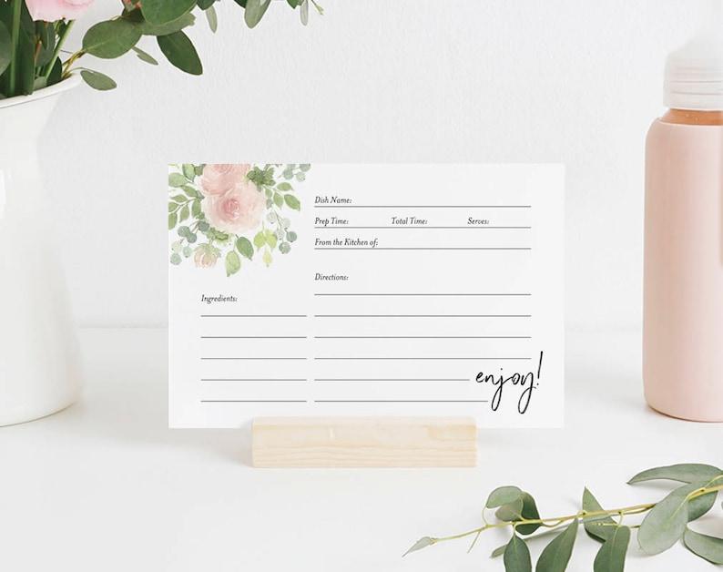 Recipe Card Printable Recipe Card Bridal Shower Recipe Card image 0