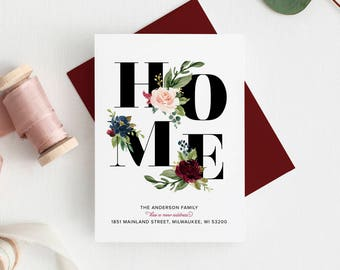 HOME Moving Announcement, New Home Announcement, New Address, Floral Moving Announcement, PDF Instant Download #BPB200_9
