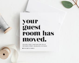 New Home Announcement, Moving Announcement, Your Guest Room Has Moved, Printable, Template, New House, PDF Instant Download #BPB200_6